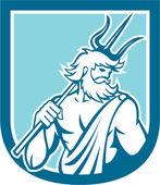 Neptune Poseidon Trident Shield Retro — Stock Vector
