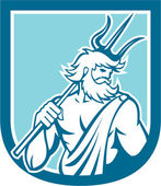 Retro de escudo tridente de poseidon netuno — Vetorial Stock