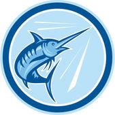 Blue Marlin Fish Jumping Circle Cartoon — Stock Vector