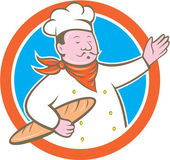 Chef Cook Holding Baguette Circle Cartoon — Stock Vector
