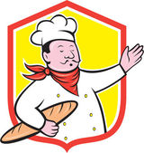 Chef Cook Holding Baguette Shield Cartoon — Stock Vector