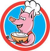 Pig Chef Cook Holding Bowl Circle Cartoon — Stock Vector