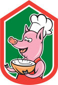 Pig Chef Cook Holding Bowl Shield Cartoon — Stock Vector