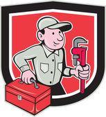 Plumber Toolbox Monkey Wrench Shield Cartoon — Stock Vector