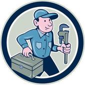 Plumber Toolbox Monkey Wrench Circle Cartoon — Stock Vector