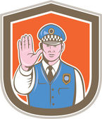 Traffic Policeman Hand Stop Sign Shield Cartoon — Stockvektor