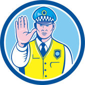 Traffic Policeman Hand Stop Sign Circle Cartoon — Stock Vector