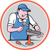 Shoemaker With Hammer Shoe Circle Cartoon — Stockvektor