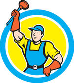 Super Plumber With Plunger Circle Cartoon — Stock Vector
