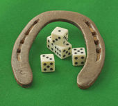 Horseshoe with dice — Stock Photo