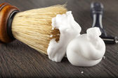 Foam and brush — Stock Photo