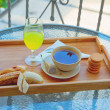 Outdoor breakfast — Stock Photo
