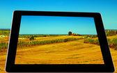 Landscape on tablet — Stock Photo