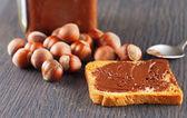 Rusk and chocolate cream — Stock Photo