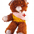 Broken armed teddy bear — Stock Photo
