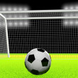 Stock Photo: 3d soccer ball and goal