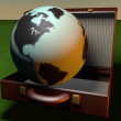 World in a suitcase — Stock Photo