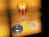 Basketball and medals — Stock Photo