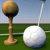 Golden cup over football field — Stock Photo