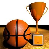 Basketball and cup — Stock Photo