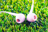 Earphones in the grass — Stock Photo
