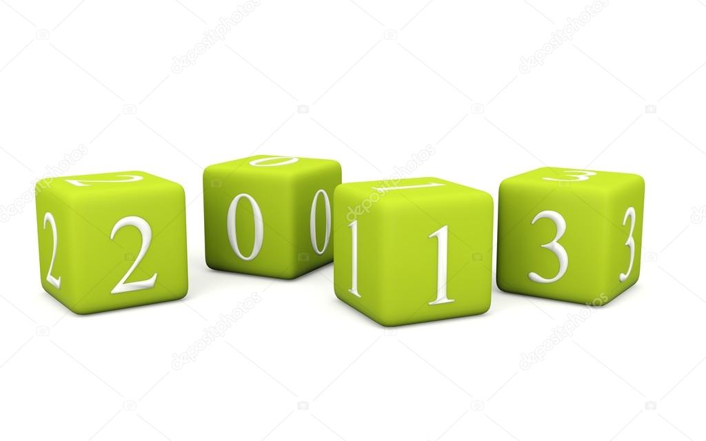 2013 New Year symbol on bricks isolated on white — Stock Photo #12585240