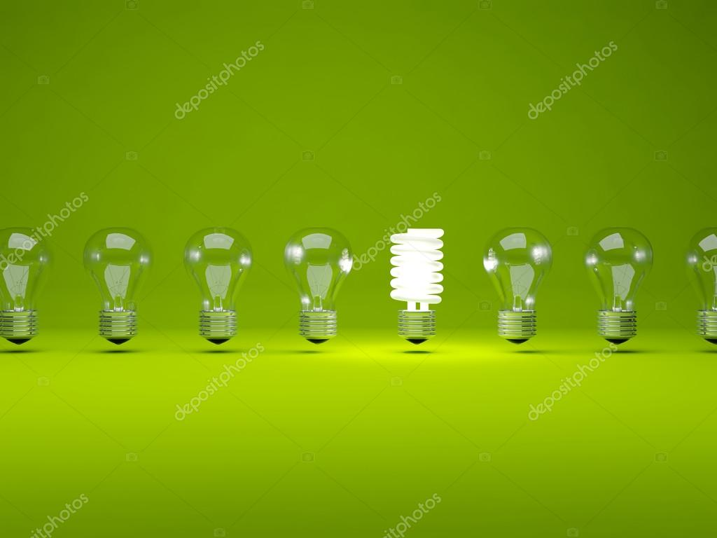 Row of light bulbs on green background — Stock Photo #13199714