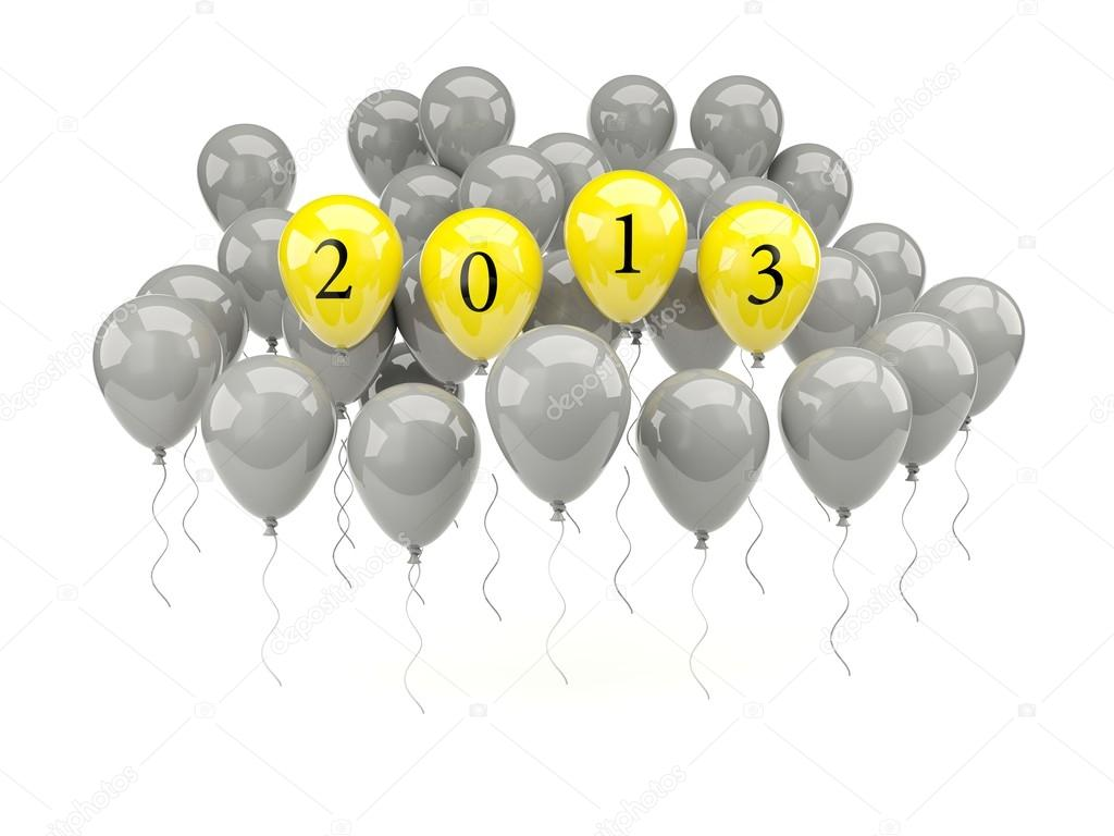 Air balloons with 2013 New Year sign — Stock Photo #13381555