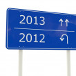 2013-2012 New Year road sign — Stock Photo