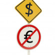 Dollar zone road sign - Stock Photo