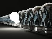 Row of light bulbs — Stock Photo