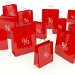 Red shopping bags isolated on white background — Stock Photo