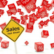 Sales just ahead road sign - Stock Photo