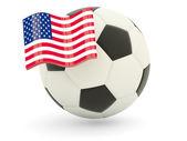 Futebol com bandeira dos estados unidos da américa — Foto Stock
