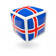 Flag of iceland. Cube icon — Stock Photo