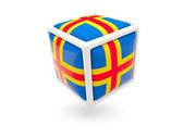 Flag of aland islands. Cube icon — Stock Photo