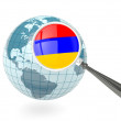 Stock Photo: Magnified flag of armeniwith blue globe