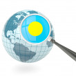 Stock Photo: Magnified flag of palau with blue globe