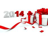 2014 New Year with a presents — Stock Photo