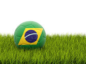 Football with flag of brazil — Stock Photo
