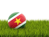 Football with flag of suriname — Stock Photo