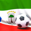 Flag of equatorial guinea with football in front of it — Stock Photo #37958697
