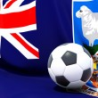 Stock Photo: Flag of falkland islands with football in front of it