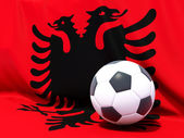 Flag of albania with football in front of it — Stock Photo