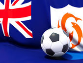 Flag of anguilla with football in front of it — Stock Photo
