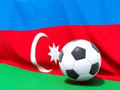 Bandera de Azerbaiyán con fútbol delante de ella — Foto de Stock