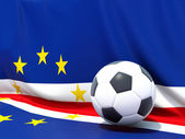 Flag of cape verde with football in front of it — Stock Photo