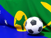 Flag of christmas island with football in front of it — Foto Stock