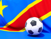 Flag of democratic republic of the congo with football in front — Stock Photo