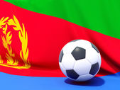 Flag of eritrea with football in front of it — Stock Photo